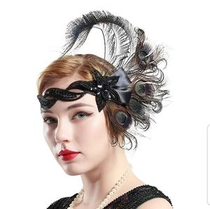 1920's Gatsby Flapper Headpiece Peacock Feather